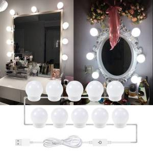 DHgate 6 10 14 bulbs stepless dimmable wall lamp 12v led makeup mirror light bulbkit for dressing table hollywood vanity lights ms010