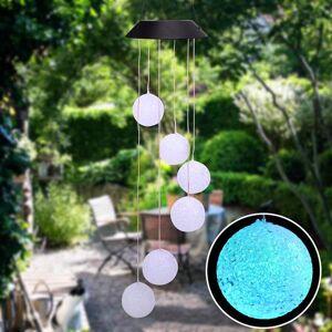 DHgate selling solar smart light control wave ball wind chime style corridor decoration pendant lamp beads black solar panel colorful light