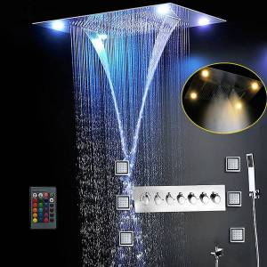 DHgate most complete shower set 6 functions luxurious bath system large waterfall dual rain misty concealed ceiling showerhead massage thermostatic