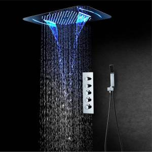 DHgate 2021 new bathroom set chrome led thermostatic rainfall faucet wall mounted ceiling mixer color change shower head m3qx