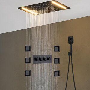 DHgate luxury ceiling rainfall shower set led bathroom thermostatic diverter valve 4 inch body jets massage system 2021