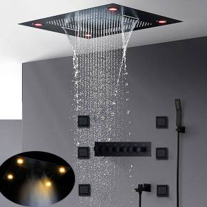 DHgate luxury most complete matt black shower set concealed ceiling large rainfall led showerhead waterfall misty thermostatic bath system