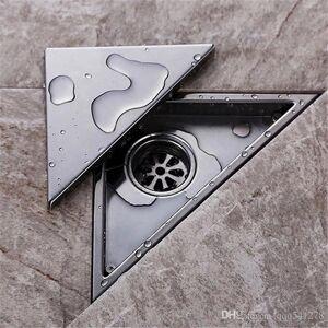 DHgate hidden type triangle tile insert floor waste grates shower drain 232mm*117mm,304 stainless steel floor drain