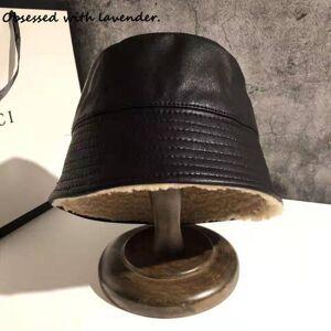 DHgate hat women fall/winter fisherman's cap pu leather small basin cap lid plus velvet padded leather lamp lamp shade japanese