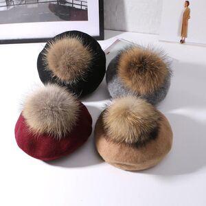 DHgate berets women's warm 100% wool cashmere 15cm large hairball natural raccoon fur pompom hats autumn winter pumpkin hat for women