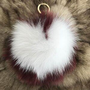 DHgate keychains magicfur - 15cm large real fur ball fluffy pompom burgundy w white heart shaped purse charm keychain pendant1