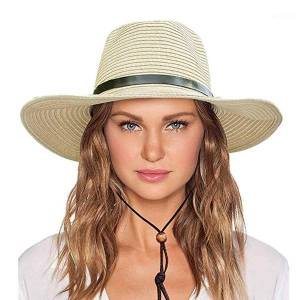DHgate women's visor wind lanyard beach summer wild sun protection vacation visor female english hat panama hat1