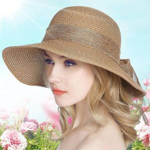 DHgate wide brim hats 15cm lady sun hat sunscreen straw cap female summer outside folding vacation students travel b-7978