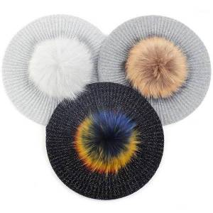 DHgate berets fashion women cashmere beanie hat with 15cm real fur pompom autumn warm skull cap beanies1