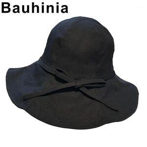 DHgate bauhinia easy-folding spring and summer bow tie big basin hat korean fashion trend wild sun shade fisherman hat1