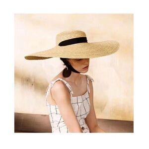 DHgate wide brim hats women summer sunscreen beach hat 15cm and 18cm large bikini straw fashion elegant black tie with bow sun