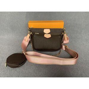DHgate new women favorite genuine leather fashion handbags multi pochette accessoires purses flower mini pochette 3pcs crossbody bag shoulder bags