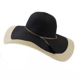 DHgate wide brim hats women beach outdoor big 15cm chain elegant patchwork summer straw paper fascinator black white sun