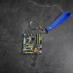 DHgate keychains creative gigabyte motherboard keychain mini mainboard model car keyring soft rubber systemboard pendant intel amd cpu gamer gift