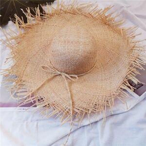 DHgate ladies oversized brim hat big straw 15cm raffia sun wide rope bow knot beach woman soft hats