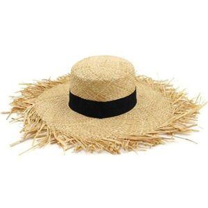 DHgate wide brim hats women big 15cm belt band flat summer khaki red black outdoor beach sun protection bucket