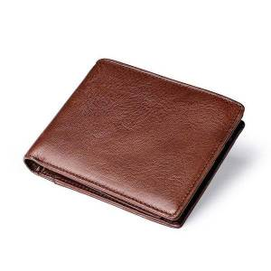 DHgate wallets vintage men's genuine leather wallet coffee color multifunctional card holder quality short coin purse glwm15