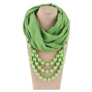 DHgate 2021 new arrival chiffon jewelry statement necklace pearl pendant scarf women neckerchief foulard femme accessories