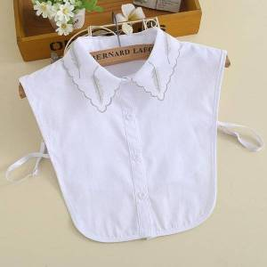 DHgate bow ties cotton shirt fake collar for women white detachable collars solid half lapel blouse female color faux col