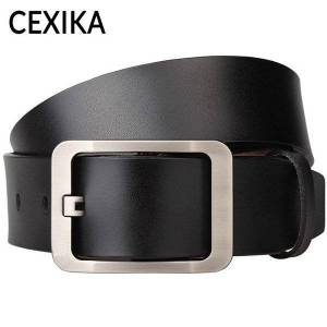 DHgate belts plus size 130 140 150 160 170cm men belt genuine leather male alloy rectangle pin buckle for jeans waistband 2021