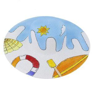 DHgate wide brim hats women summer big birm 15cm print luxury elegant round straw sun protection beach casual ladies