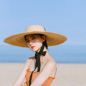 DHgate summer natural wheat straw hat for women 10/15/18cm wide brim sun protection visor sunhat beach black ribbon boater hats