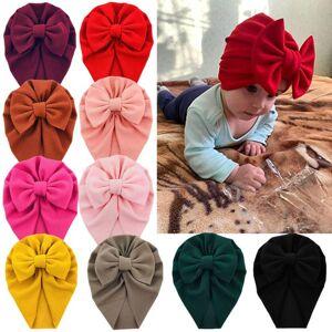 "DHgate 10pcs born infant 6"" large not seersucker turban hats handmade waffle fabric caps beanies for baby boys girls headwea p15"