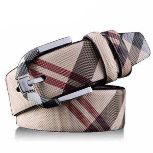 DHgate fashion wild stripe men women real leather belt designer waist belts metal pin buckle strap