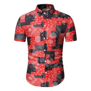 DHgate men's shirts casual print short sleeve slim  male fashion wild floral blouse summer new arrival 2020 red