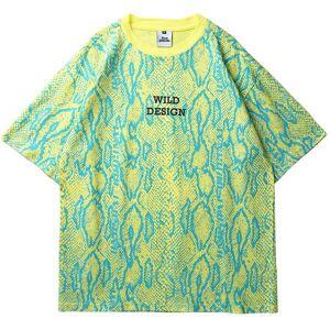 DHgate januarysnow 2020 men hip hop t shirt wild snakeskin print oversize t-shirt streetwear vintage tshirts summer short sleeve  tees cotton