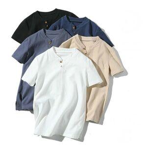 DHgate retro men's cotton linen t shirt v neck solid color short sleeve slim fit wild tee harajuku streetwear men summer casual top