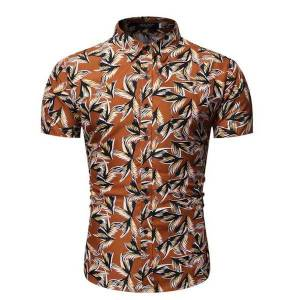 DHgate mens shirts fashion print short sleeve blouse male personality wild loose floral shirt summer new 2020