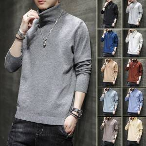 DHgate high collar sweater mens loose fall winter trend multi color solid  fashion brand pullover m-5xl
