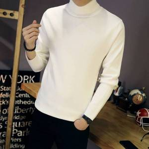 DHgate autumn winter sweater men's double turn high collar solid color slim fitting t-shirt trend with underlay
