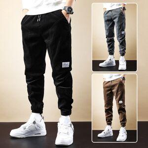 DHgate 2021 new autumn newly fashion men jeans loose fit casual corduroy cargo pants elastic waist streetwear hip hop joggers wide leg trousers ric