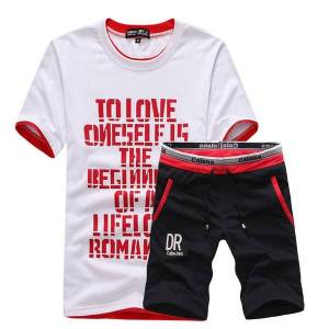 DHgate 2021 new summer casual comfortable round neck breathable short-sleeved t-shirt + shorts suits, college print men's sets i6s1