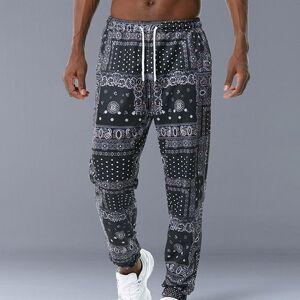 DHgate hip hop loose fit elastic waist pants printed side pocket ankle mens casual drewstring sportwear joggers