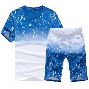 DHgate 2021 new summer sportswear fashion style men's round neck gradient blue and white short-sleeved men sets hzp8