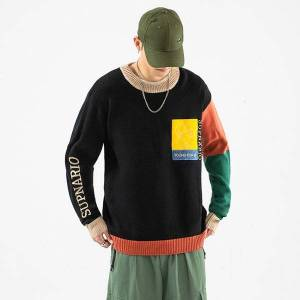 DHgate 2021 new fashion o-neck sweater men's hip hop streetwear pull oversized m-5xl long sleeves pullover for autumn spring winter 033c
