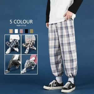 DHgate 2021 new spring summer plaid men's fashion retro casual men streetwear korean hip-hop straight wide-leg pants mens trousers m62c