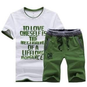 DHgate 2021 new summer set outwear slim fit mens sweat suits casual t shirts + shorts fashion 2pcs men sets 8t61