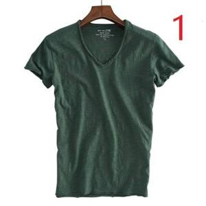 DHgate 2021 new summer cotton slim v-neck solid color half-sleeved white men's bottoming shirt youth wild short-sleeved t-shirt male wnei