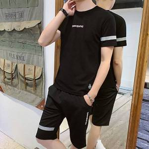 DHgate 2021 new sports male tracksuit clothing summer men fitness suit sporting suits short sleeve t shirt shorts quick drying 2 piece set 8k0x