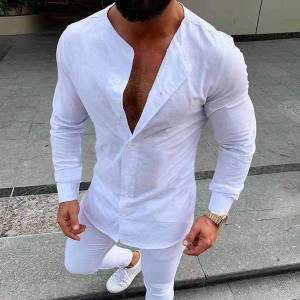 DHgate 2021 autumn men vintage white shirt mens solid color v collar long sleeve casual harajuku man cotton linen shirts koszula d4se
