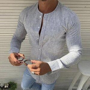 DHgate 2021 vintage solid color autumn long sleeve cotton linen shirt mens casual slim fit shirts for men koszula 7kd9