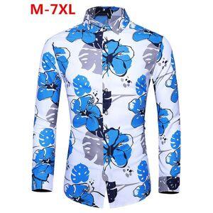 DHgate 2021 koszula autumn man vintage flowers print long sleeve shirt oversized men casual slim fit office shirts 5xl 6xl 7xl q0xv