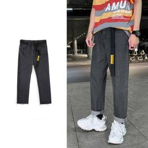 DHgate 2021 new men's solid color biker denim trousers wide leg removable belt baggy homme casual pants cargo pocket jeans m-3xl 41c4