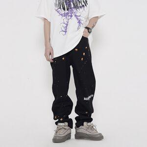 DHgate 2021 new harajuku painted letter streetwear retro men's brem straight spring casual breech denim oversize hip hop baggy pants m18c