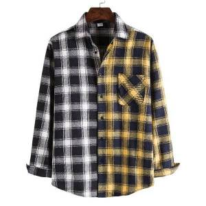DHgate 2021 koszula black white plaid patchwork vintage men long sleeve shirt autumn mens oversized flannel shirts man chemise homme qqe8