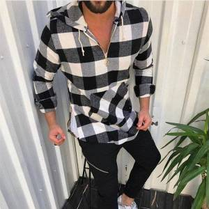 DHgate 2021 vintage black white plaid autumn men long sleeve hooded shirt mens casual loose pullover shirts man koszula ezk1